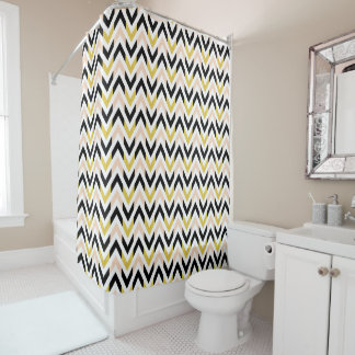 Modern Gold Black White Pink Geometric Design Shower Curtain