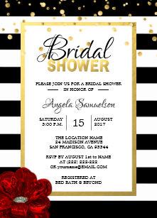 modern gold black white red rose bridal shower invitation