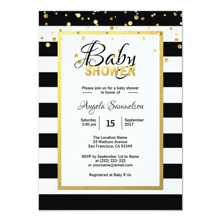 Modern Gold Black White Stripes Baby Shower Invitation Zazzle Com