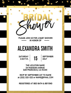 Black and gold bridal shower invitations zazzle modern gold black white stripes bridal shower invitation filmwisefo