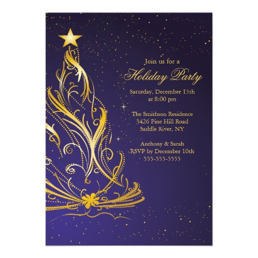 Modern Gold & Blue Christmas Holiday Party Custom Invite