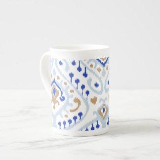 Modern gold blue girly ikat tribal pattern tea cup