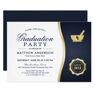 Modern Gold Blue Pharmacy School Graduation Party Card