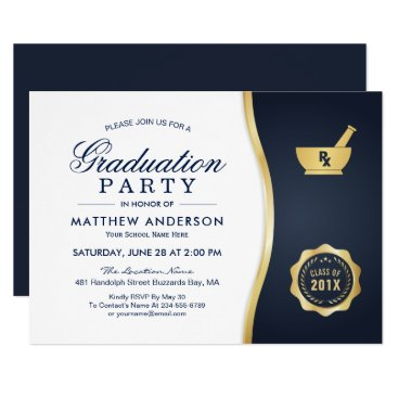 Beach Themed Modern Gold Blue Pharmacy School Graduation Party Card