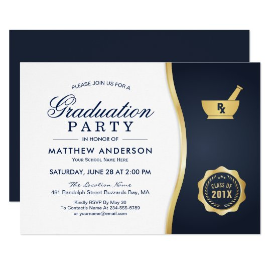 Modern gold blue pharmacy school graduation party invitation modern gold blue pharmacy school graduation party invitation filmwisefo