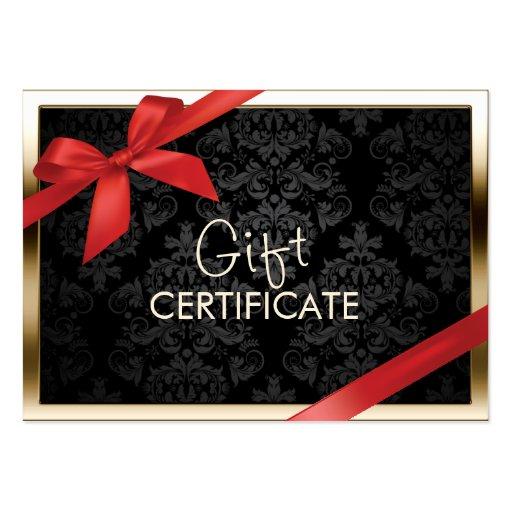 Modern Gold Border Black Damask Gift Certificate Business Card Templates
