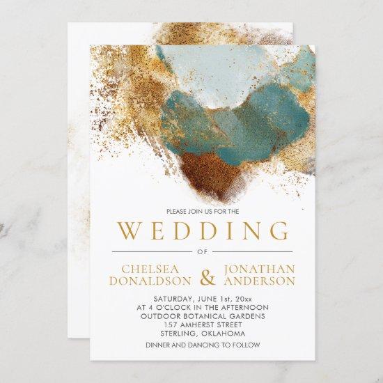 Modern Gold Bronze Teal Gold Text Wedding Invitation