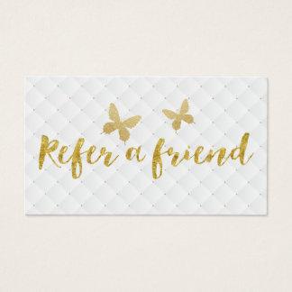 Modern Gold Butterflies Refer a Friend Referral Business Card
