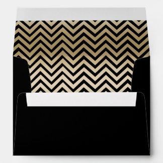 Modern Gold Chevron Stripes Envelope