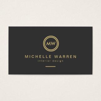 Modern Gold Circle Monogram Initials on Dark Gray Business Card