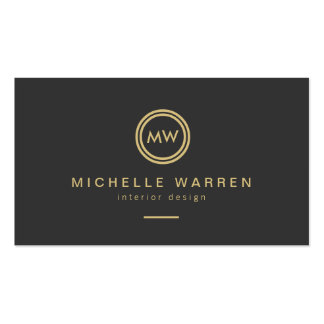 Modern Gold Circle Monogram Initials on Dark Gray Double-Sided Standard Business Cards (Pack Of 100)