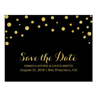 Modern Gold Confetti Dots Save the Date Postcard