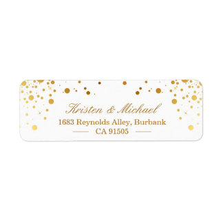 Modern Gold Confetti Dots | Stylish Elegant Label