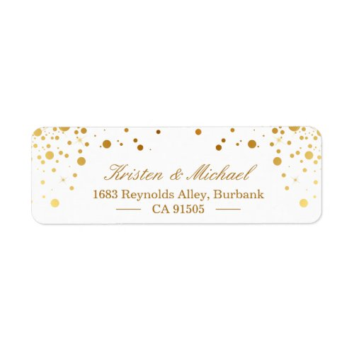 Modern Gold Confetti Dots  Stylish Elegant Label