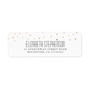 Wedding Themed Modern Gold Confetti Dots Wedding Label