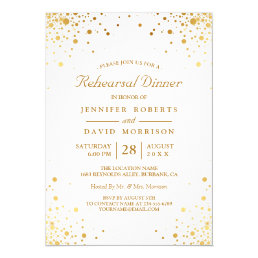 Modern Gold Confetti Dots Wedding Rehearsal Dinner Card