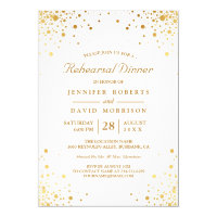 Modern Gold Confetti Dots Wedding Rehearsal Dinner Invitation