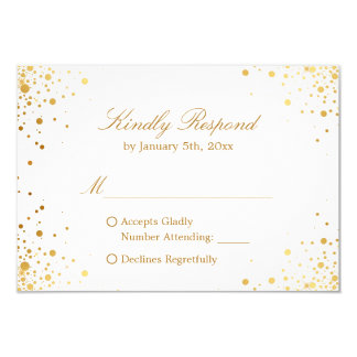 Modern Gold Confetti Dots Wedding RSVP Reply Card