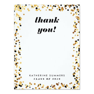 Modern Gold Confetti Graduation Thank You Cards