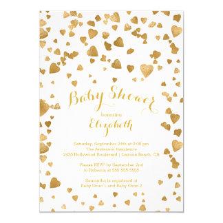Modern Gold Confetti Hearts Baby Shower Invitation