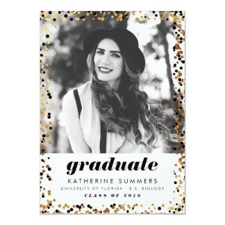 Modern Gold Confetti Photo Graduation Invitations