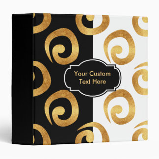 Modern Gold Curls Pattern with Custom Text 3 Ring Binder