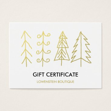 Christmas Themed Modern Gold Cute Christmas Trees Gift Certificate