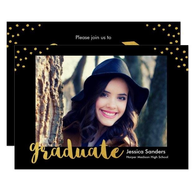 Modern Gold Decor 2017 Grad Photo Graduation Party Card