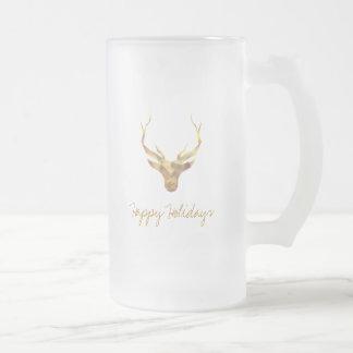 Modern Gold Deer, Holiday Frosted Glass Beer Mug