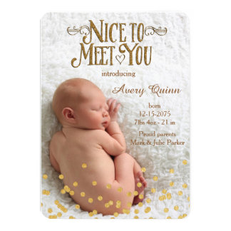 "Modern Gold Dot Birth Announcements 4.5"" X 6.25"" Invitation Card"