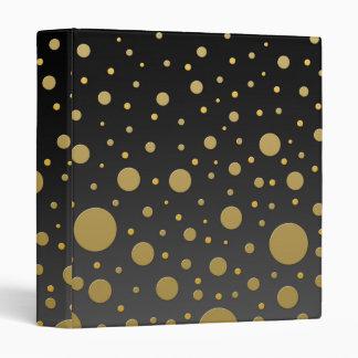 Modern Gold Dots on Black Background Binder