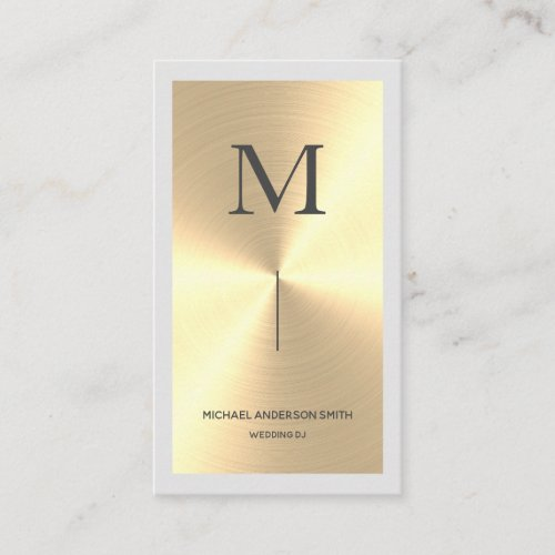Modern Gold Faux DJ Monogram & Border Business Card
