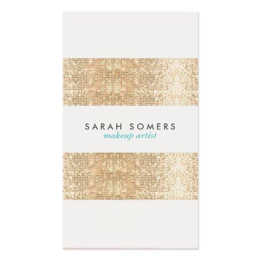 Modern Gold Faux Sparkly Sequins Makeup Artist Business Card Templates