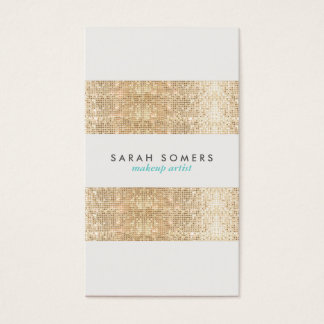 Modern Gold Faux Sparkly Sequins Makeup Artist Business Card