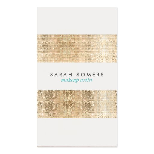 Modern Gold Faux Sparkly Sequins Makeup Artist Double-sided Standard Business Cards (pack Of 100)