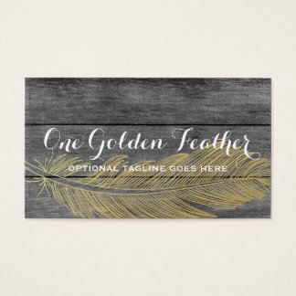 Modern Gold Feather on Rustic Dark Wood Background Business Card