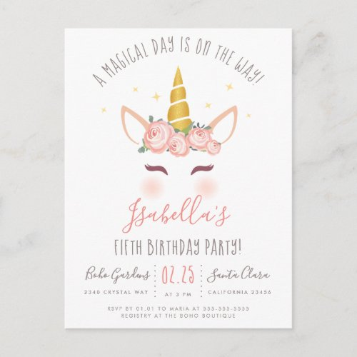 Modern Gold Floral Magical Unicorn Birthday Party Invitation Postcard