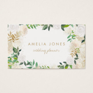 Modern Gold Floral Wreath Business Card