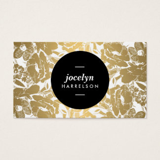 Modern Gold Flowers Black Circle Business Card