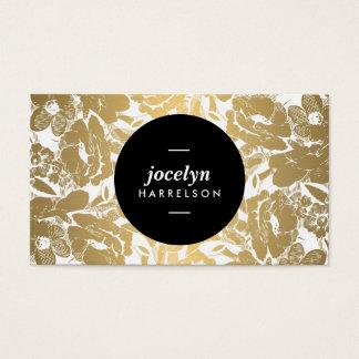 Modern Gold Flowers Black Circle Business Card
