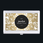"""Modern Gold Flowers Black Circle Card Case<br><div class=""""desc"""">Coordinates with the Modern Gold Flowers Black Circle Business Card Template by 1201AM. A traditional floral pattern is made modern with a faux metallic gold and white color scheme. The centered black circle highlights your name or business name on this personalized business card holder. &#169; 1201AM CREATIVE</div>"""