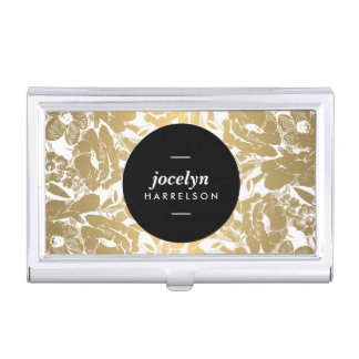 Modern Gold Flowers Black Circle Card Case