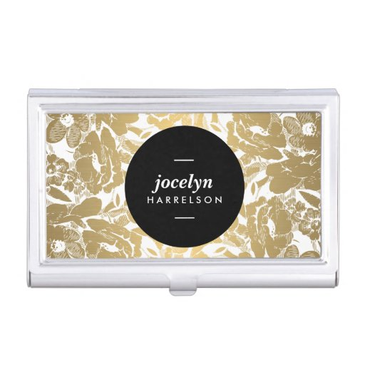 Modern gold flowers black circle card case business card for Modern business card case