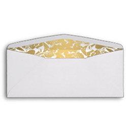 Modern Gold Flowers Black Circle Envelope