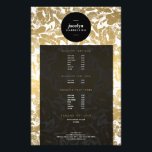 """Modern Gold Flowers Black Circle Flyer<br><div class=""""desc"""">Coordinates with the Modern Gold Flowers Black Circle Business Card Template by 1201AM. A faux gold vintage floral pattern is made modern with a black circle logo highlighting your name or business name on this chic flyer template. Great for use as service menus, promotions, announcements, etc. This product is part...</div>"""