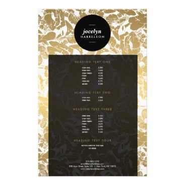 Modern Gold Flowers Black Circle Flyer