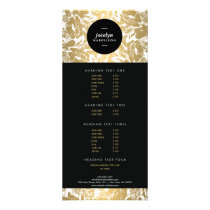 Modern Gold Flowers Black Circle II Rack Card