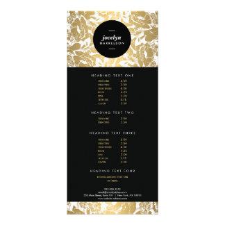 Modern Gold Flowers Black Circle II Rack Card