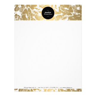 Modern Gold Flowers Black Circle Letterhead