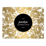 Modern Gold Flowers Black Circle Postcard